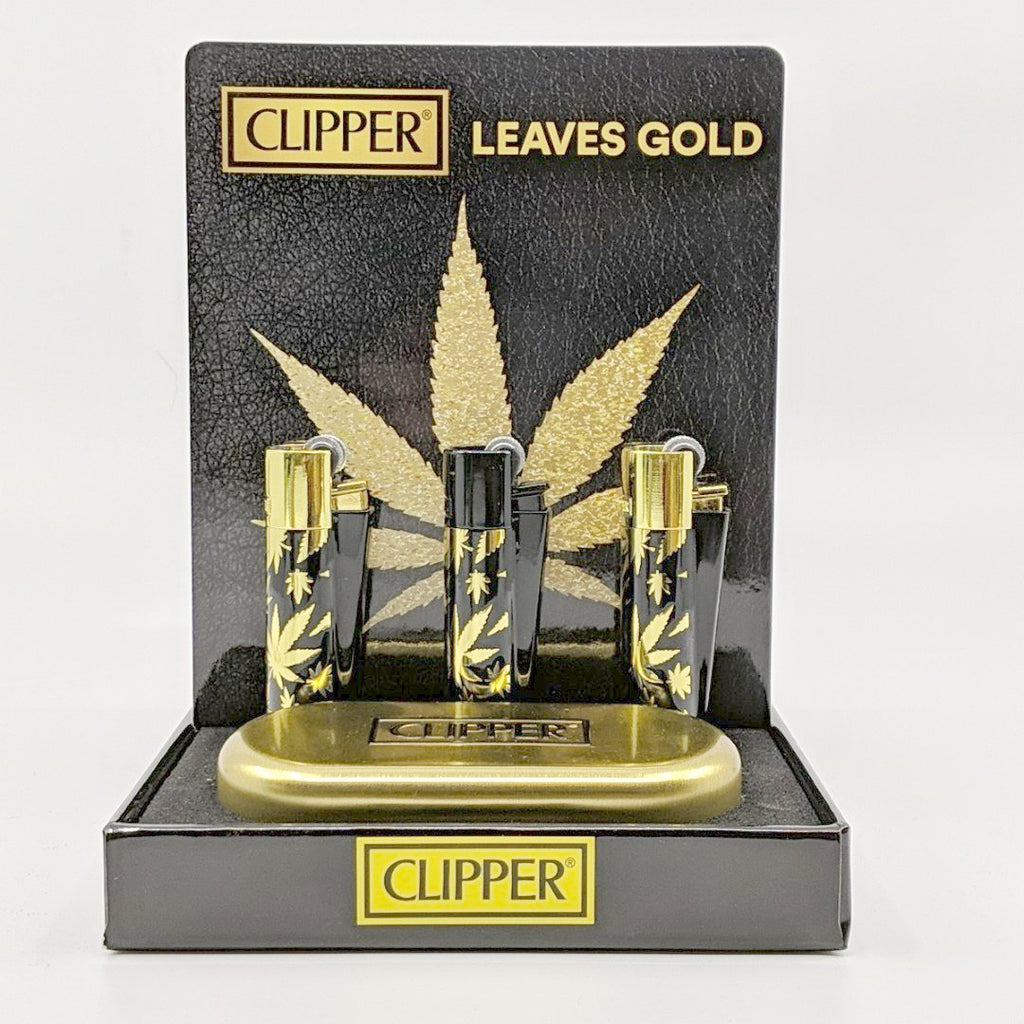 Clipper Lighter Metal Cannabis Leaves
