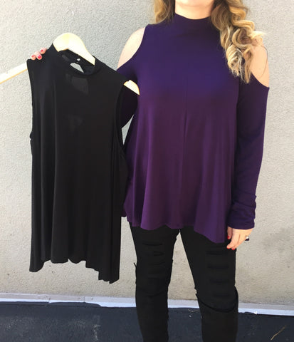 Cold Shoulder Long Sleeve Top