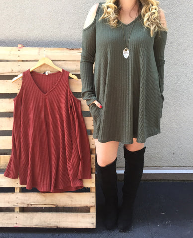 Cold Shoulder Long Sleeve Tunic