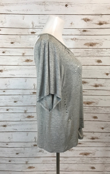 Burn Out Distressed Top- Grey