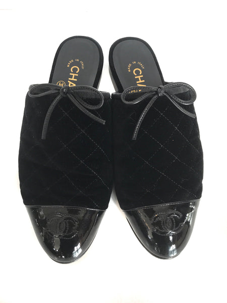Size 7.5 (38) Chanel Black Velvet + Quilted Mules