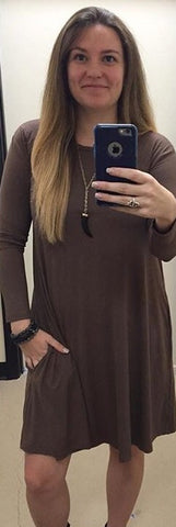 Piko Long Sleeve Dress w/ Pockets