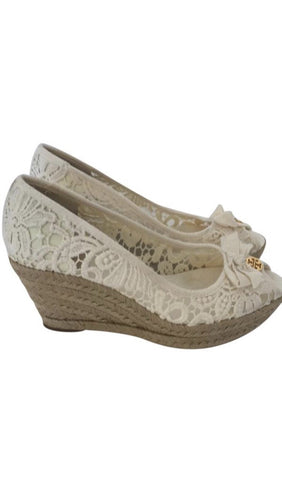 Size 8 Tory Burch Cream Wedges