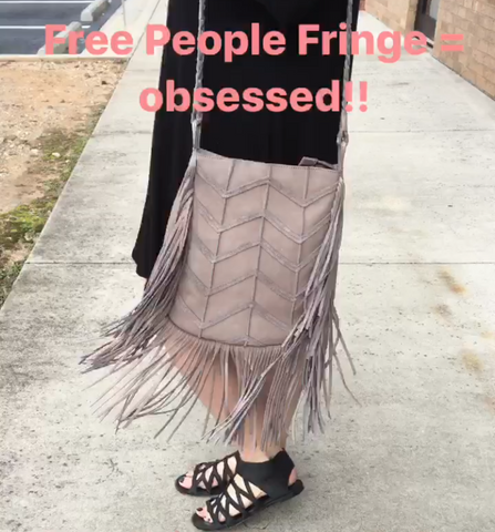 Free People Grey Fringe Handbag