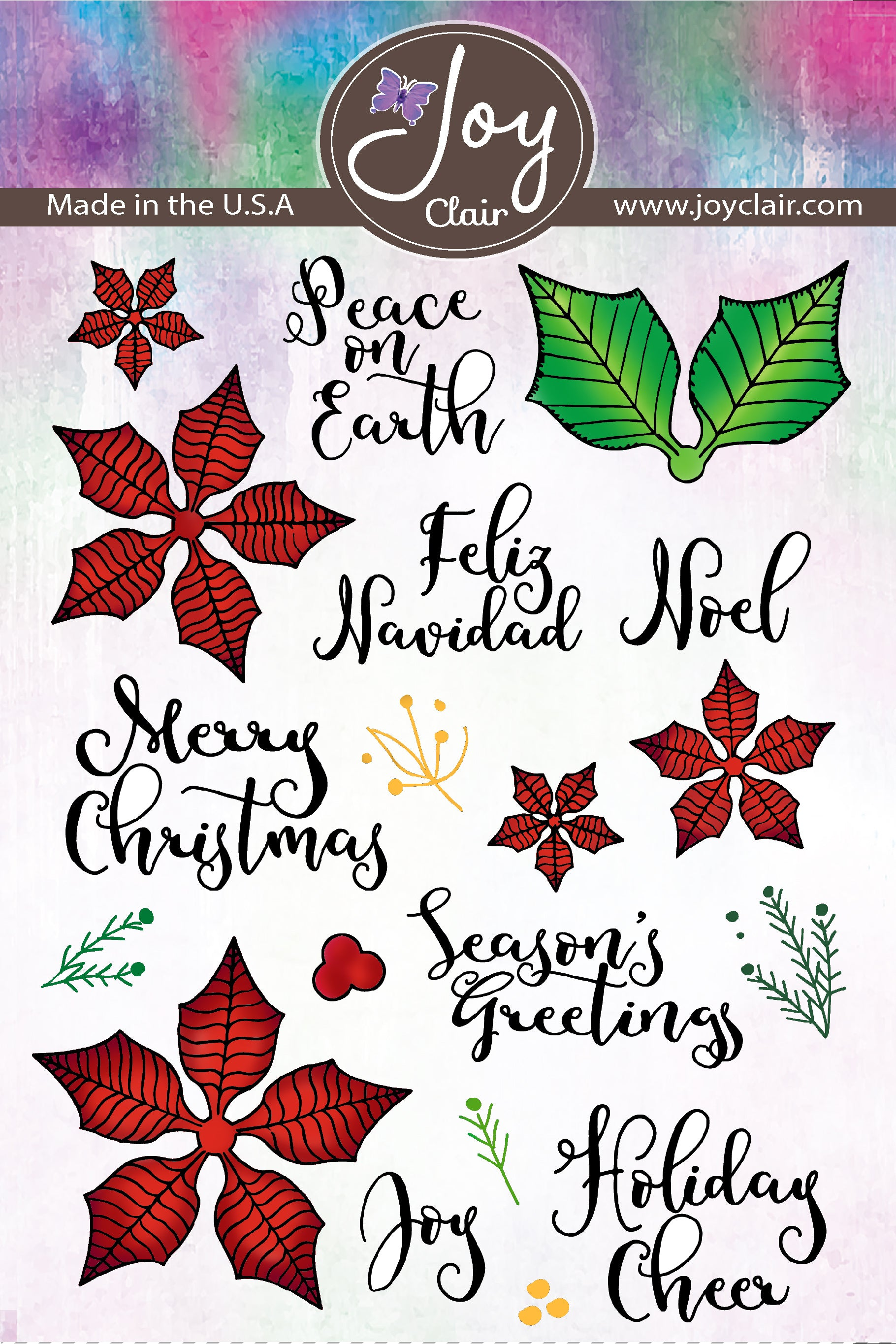 Traditional poinsettia flowers and Christmas sentiments