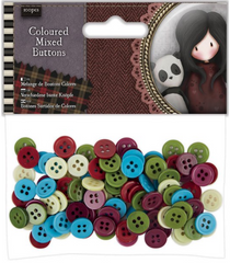 Santoro Gorjuss Tweed Mixed Buttons 100 Pkg.