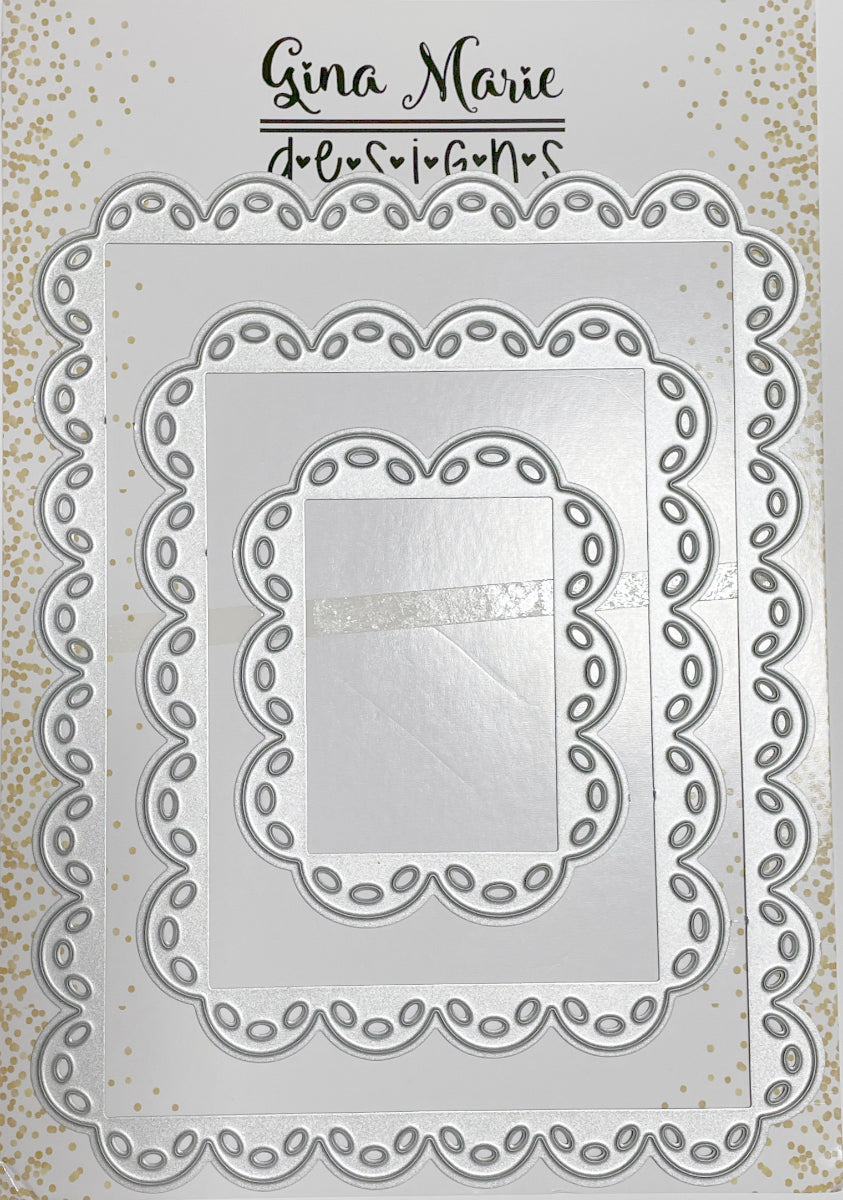 Thick Scalloped Stitched Rectangle Dies