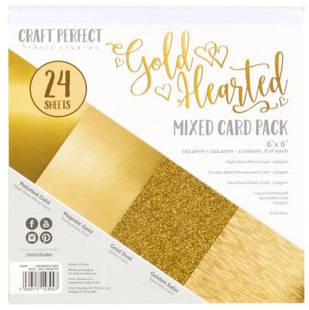 Gold Hearted Mixed Card Pack 6 x 6 - Craft Perfect Tonic Studios