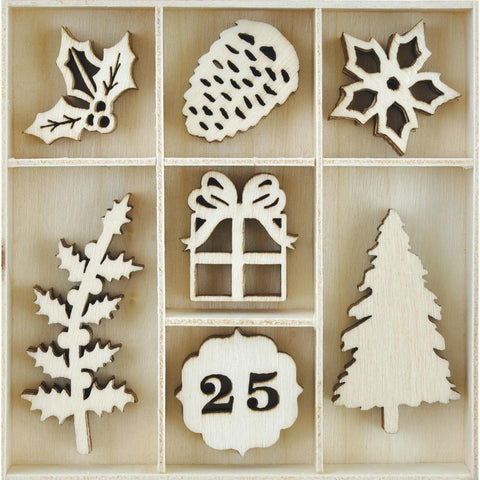 Traditional Christmas Collection Die Cuts Wooden Flourish Pack