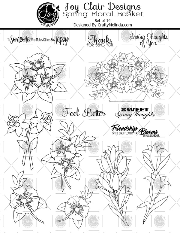 Spring Floral Basket Digital Stamp Set