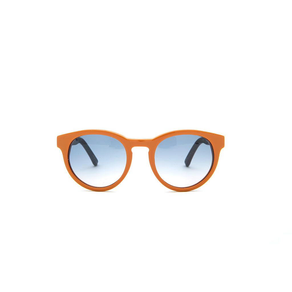 Linda Farrow x THE ROW 14 in Burnt Orange Leather temples