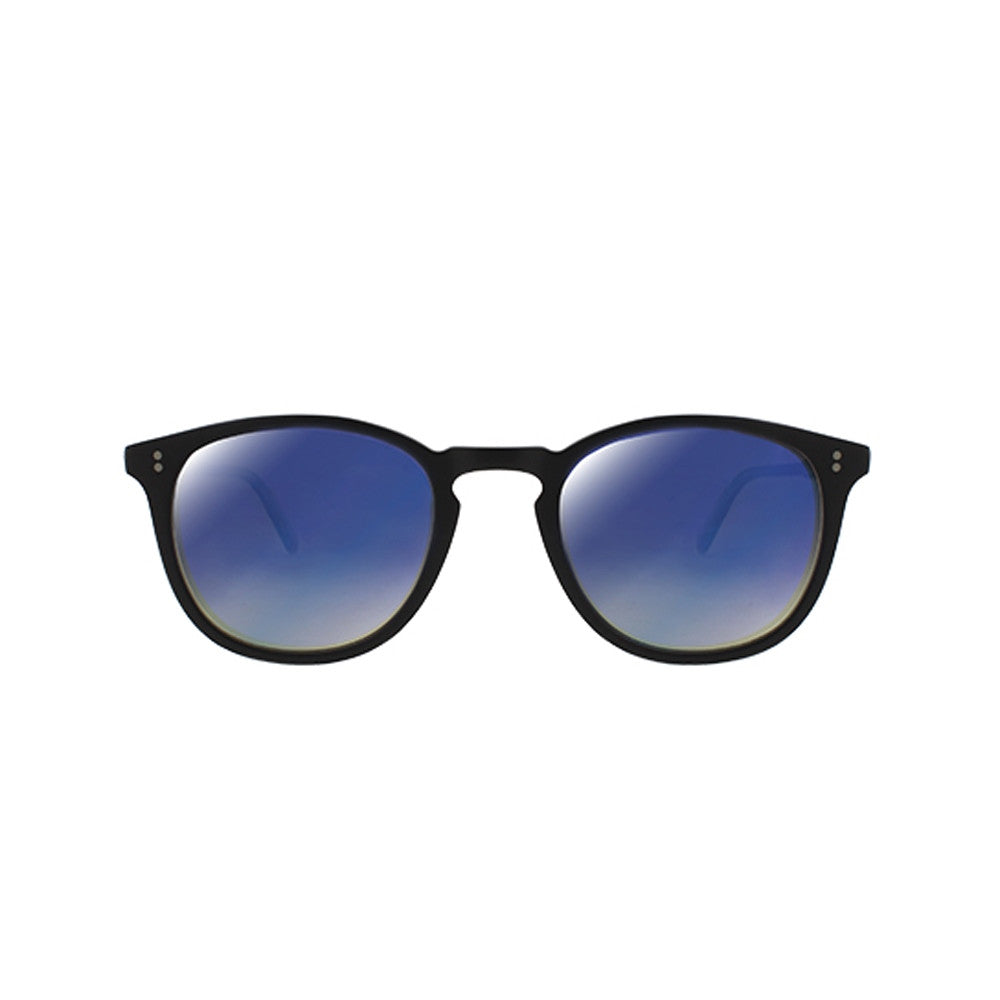 Kinney Matte Black with Blue Layered Mirror CR-39 lenses