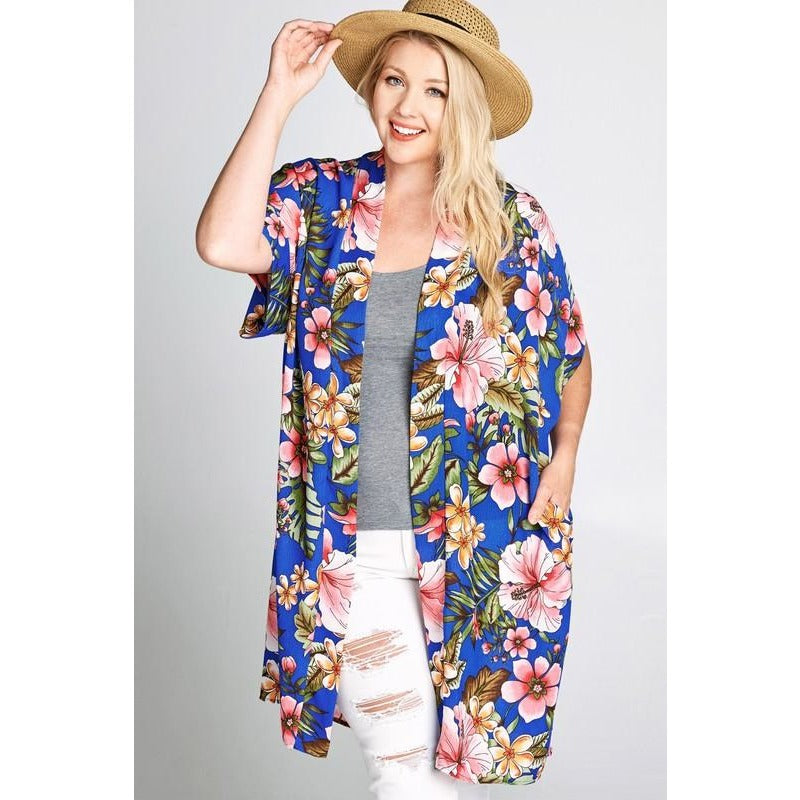 ALLOVER FLORAL PRINT SS CARDIGAN
