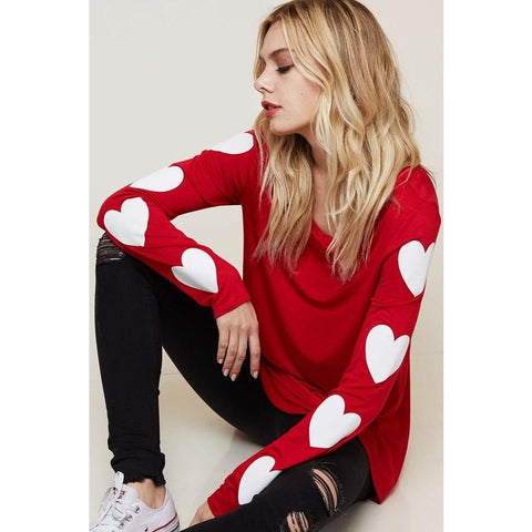 HEART GRAPHIC TOP RED