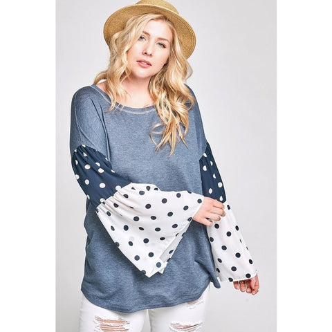 NAVY POLKA DOT BELL SLEEVE TOP