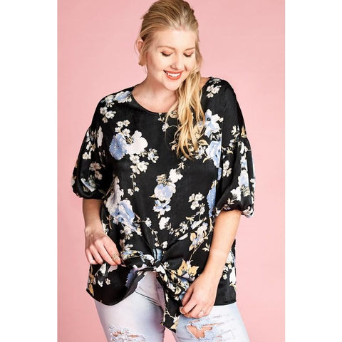 BLACK FLORAL SATIN BLOUSE