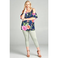 Top CShoulder Floral Navy