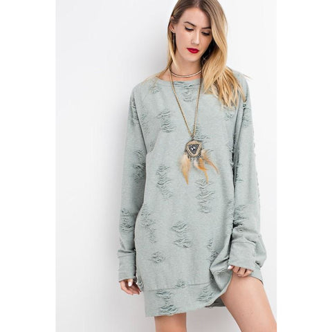 DISTRESSED FRENCH TERRY TUNIC
