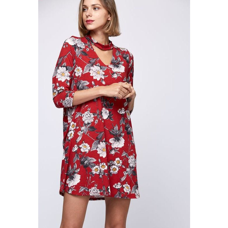 DRESS RED FLORAL PRINT
