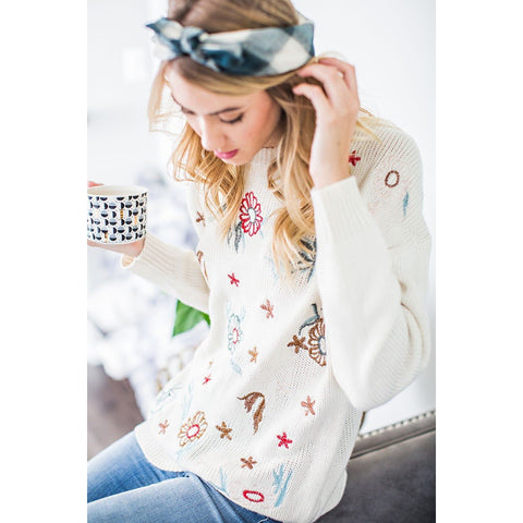 EMBROIDERED OATMEAL LS KNIT