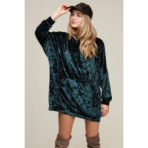 HGREEN VELVET HOODIE DRESS