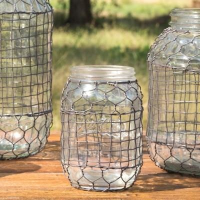 Primitive Wire Covered Jars