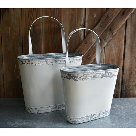 GALVANIZED WHITE WALL BUCKET