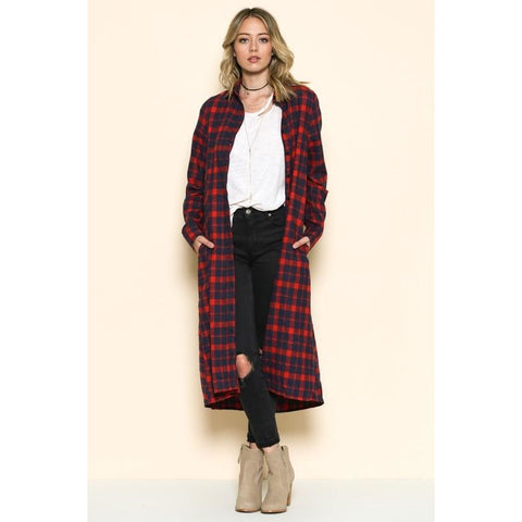TOP FLANNEL DUSTER NAVY RED