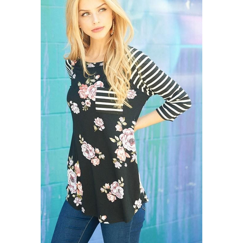 TOP BLACK FLORAL RAGLAN
