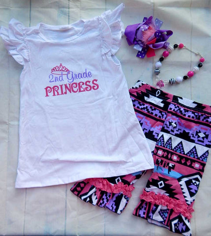 Back To School Shorts Set 2nd Grade Princess Second