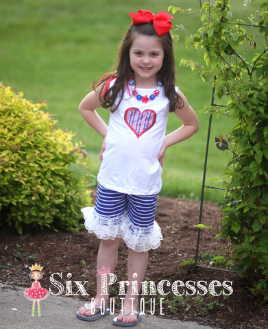 Adorable Lace Trim Patriotic 4th of July Set - Shorts & top