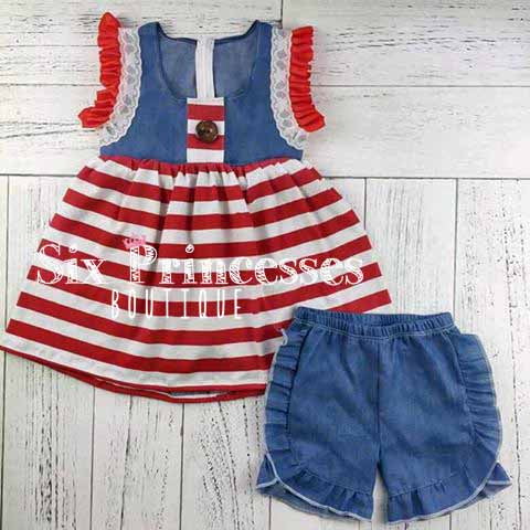 4th of July Denim Set High Quality Boutique shorts & Top