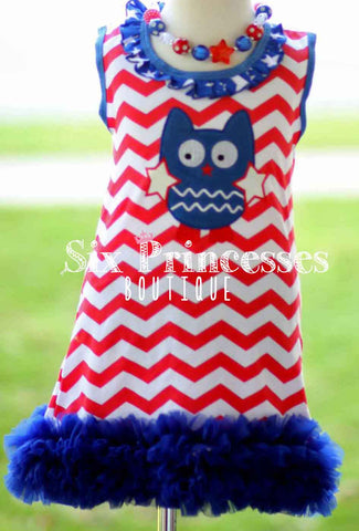 4th of July Owl Tutu Tulle Dress Personalizable