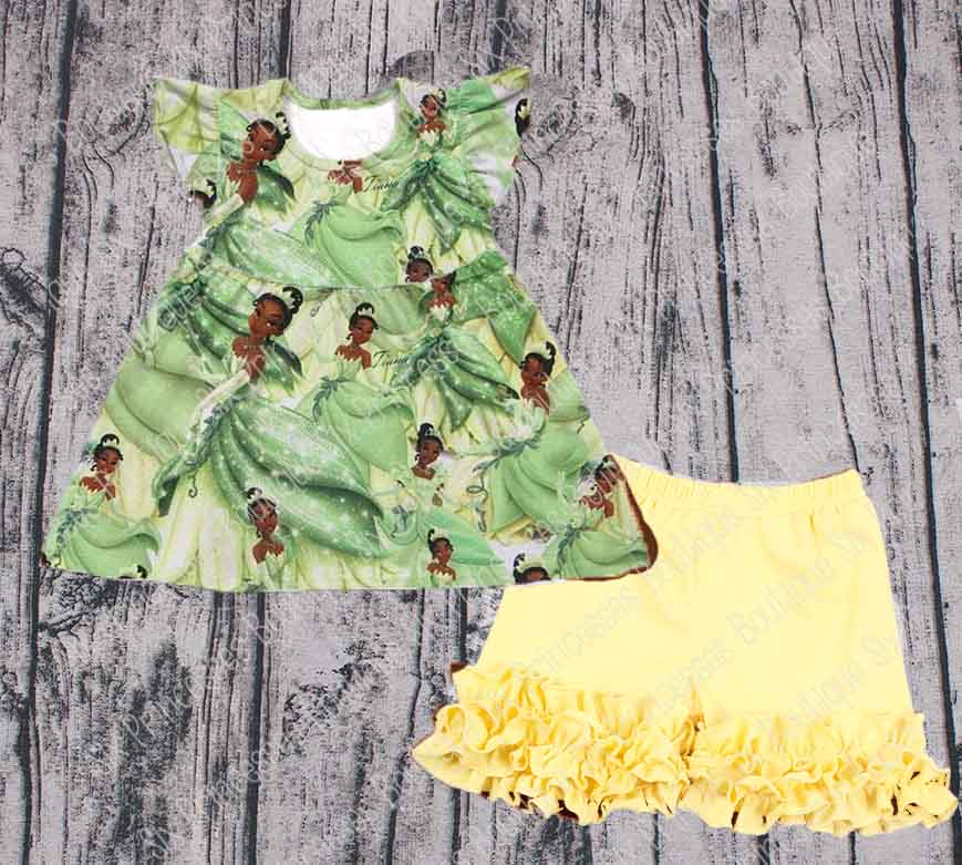 Disney Tiana Princess & the Frog Shorts Set Pearl Top/Ruffle SHorts 5/6 & 6/7 Only