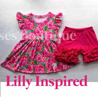 854ea6293087bf Lilly Pulitzer Inspired Ruffle Shorts & top Set 2t, 3t & 5/6 only ...
