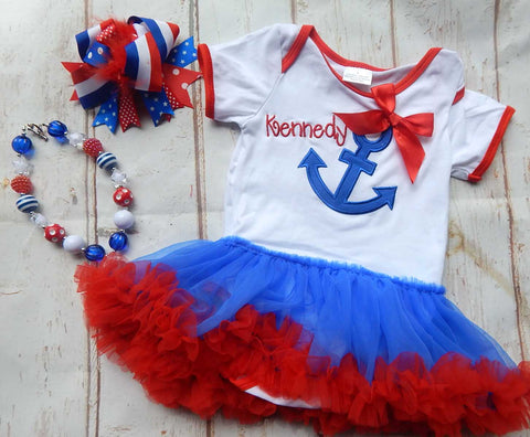 Baby Anchor Tutu Dress Tulle Romper 4th of July Patriotic
