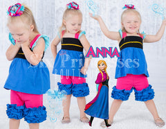 Princess Shorts Set Anna Frozen Inspired Disney Princess
