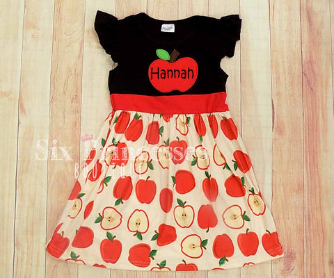 Apple Dress Fall Back To School Ruffle Personalized