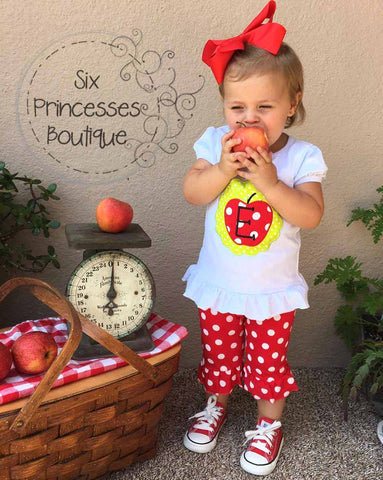 Apple applique Set Red Polka Dot Back to School
