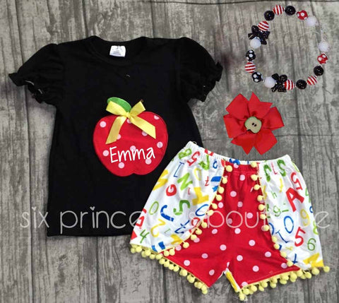 Back To School Pom Pom Shorts Apple/Letters Set Outfit