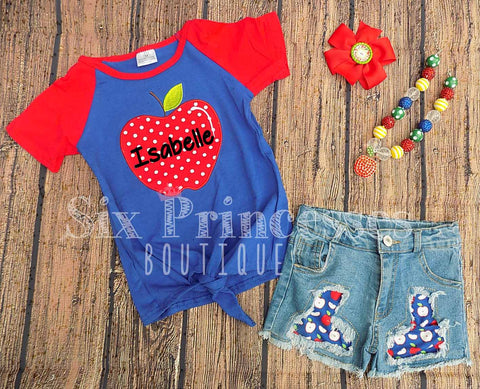 Apple Shirt & Denim Shorts Set