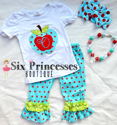 Aqua/Red Apple Set Polka Dot Back To School Personalizable