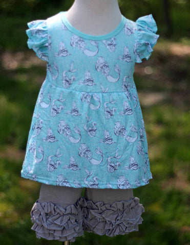 Ariel Pearl Top/Ruffle Shorts 2T only