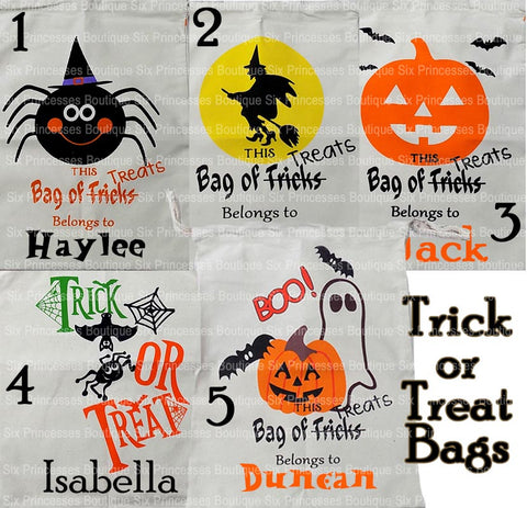 Trick Or Treat Bags Canvas Personalized with Name! Pumpkin Witch Kitty