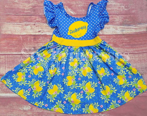 Blue Floral Lemon Print Twirl Dress