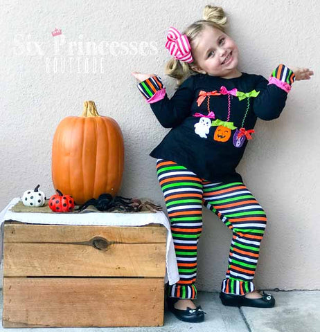 Halloween Kitty Pumpkin Ghost 2pc Set Striped Ruffle Pants & Tunic Top