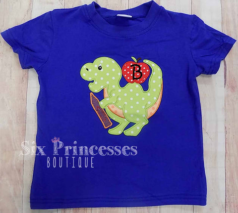 Back To School Shirt Dinosaur Applique Boys Personalizable