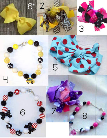 Back to School Accessories (2) Necklaces & Bows
