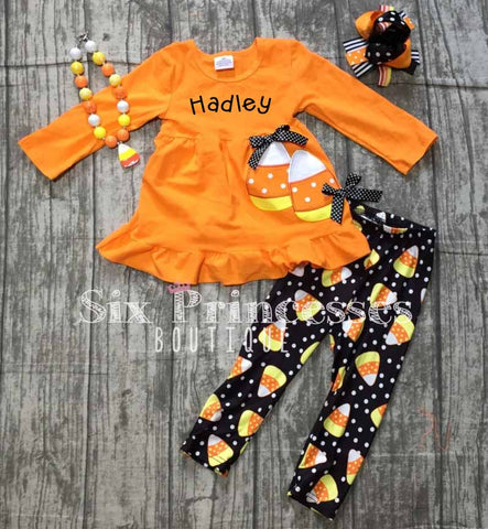 Halloween Candy Corn Swing Top/Leggings Set Applique