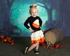 Candy Corn Halloween Skirt & Top Set